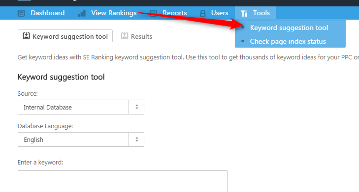 seranking keyword suggestion tool