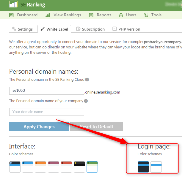 seranking login page color schemes