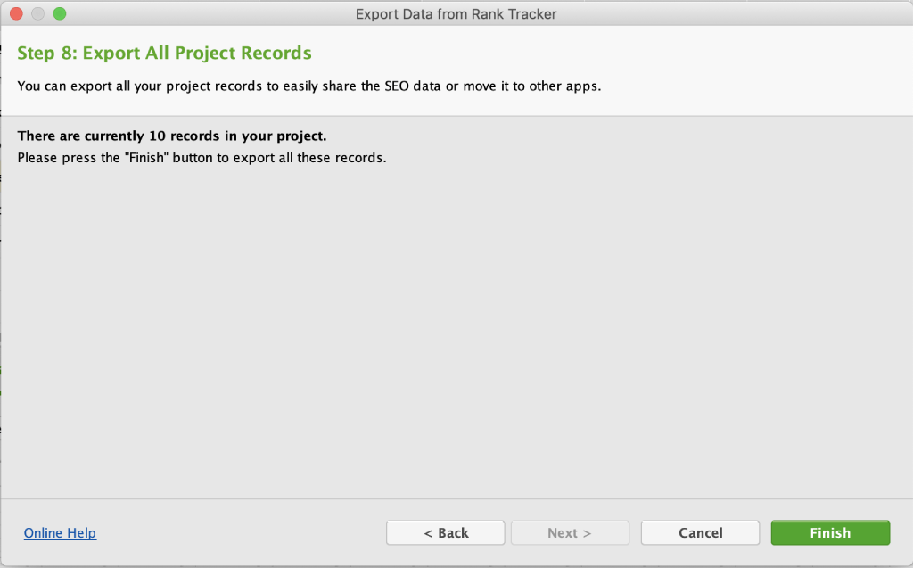 Finish exporting data from Rank Tracker