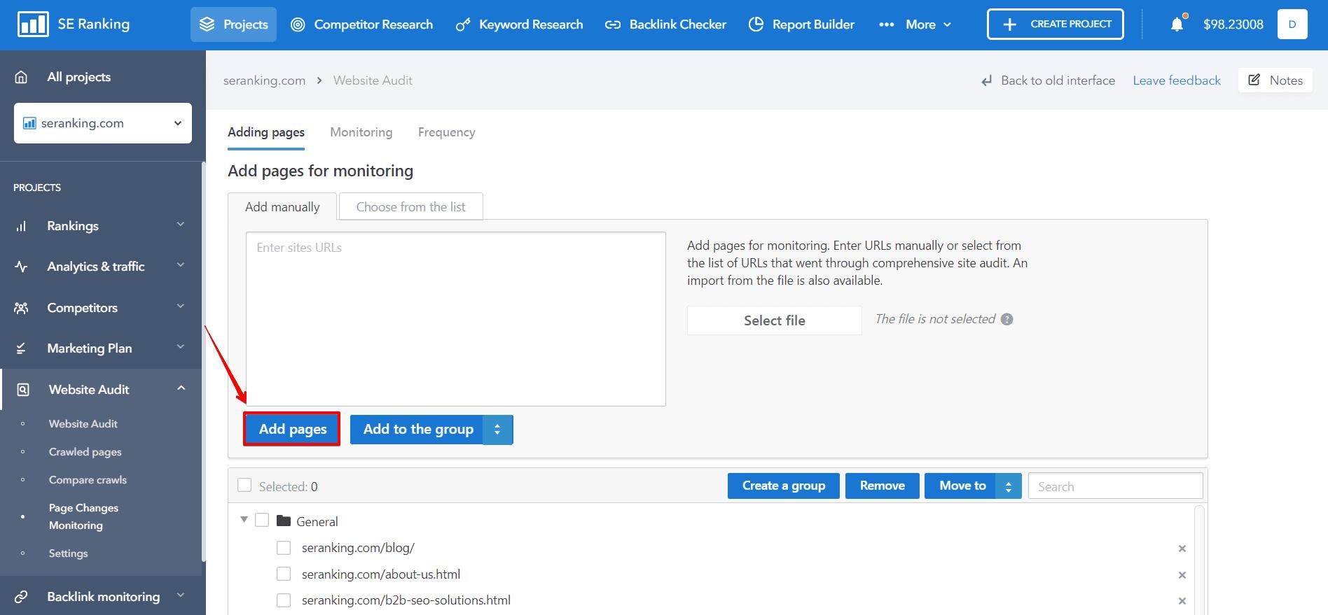 adding page website audit