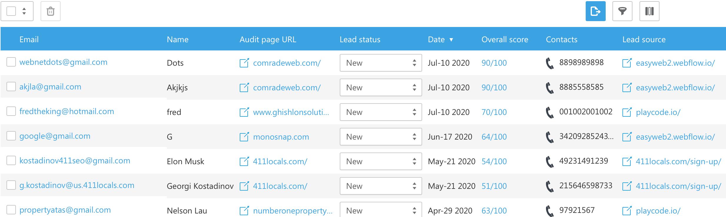 Lead generator contact info