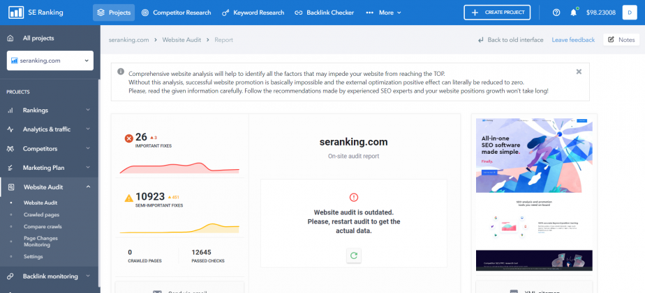 se-ranking-website-audit-new-interface