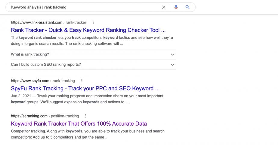 Keyword analysis rank tracking