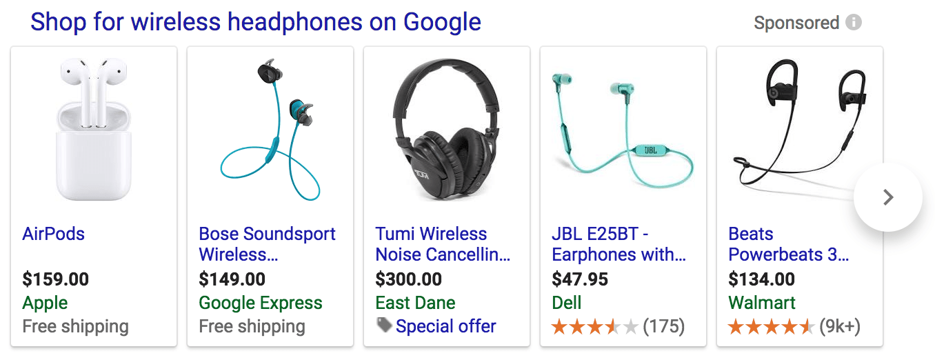 Shopping Results in Google