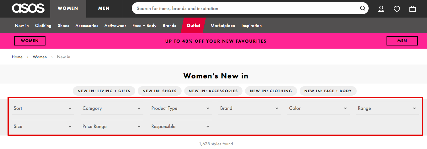 ecommerce filtering