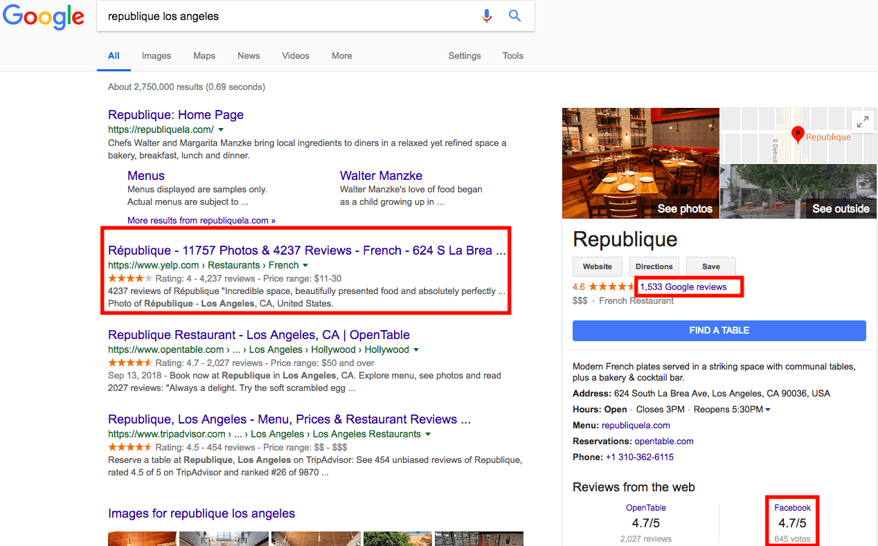 Social reviews in search results