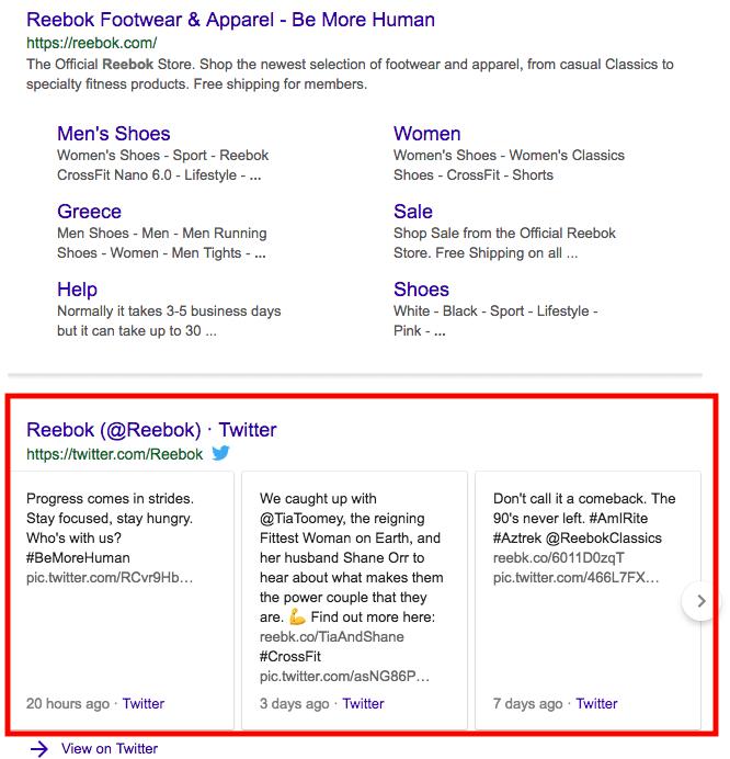 Social profile in search results