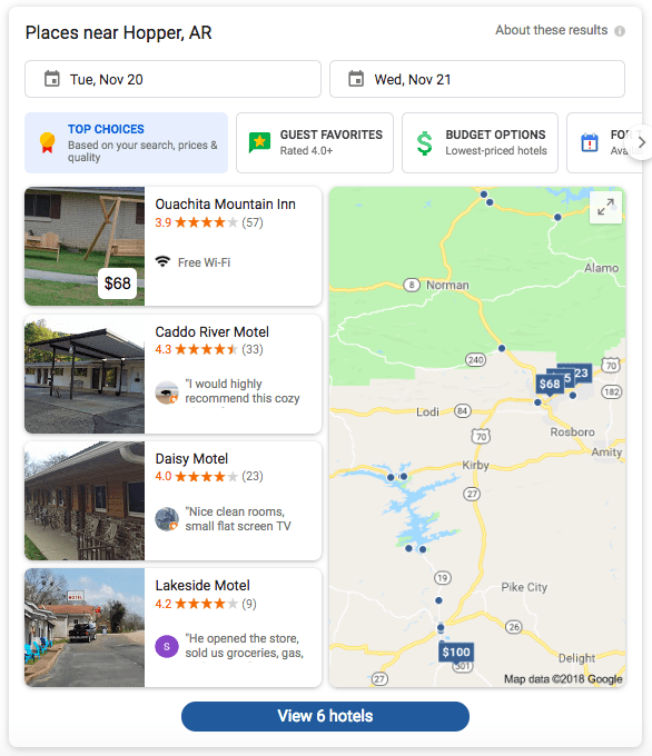 Local SERP Fearture for hotels