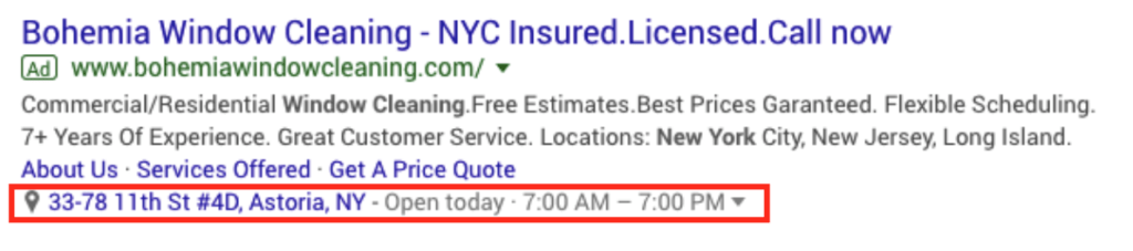 location extention in Google Ads