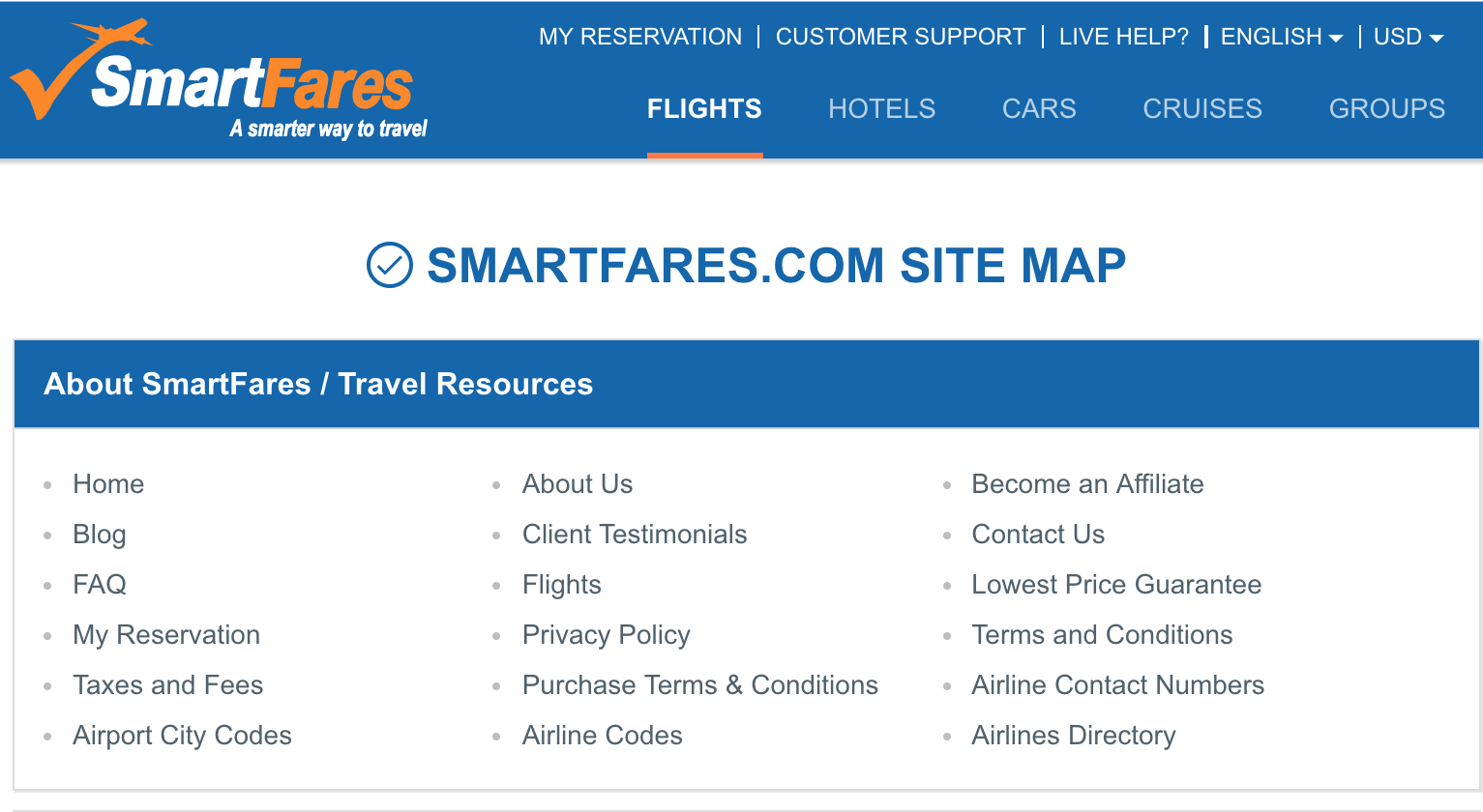 how an html sitemap looks like - SmartFare example
