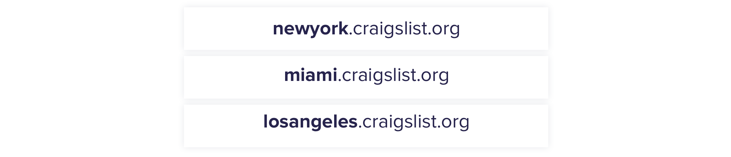 Craigslist city subdomains