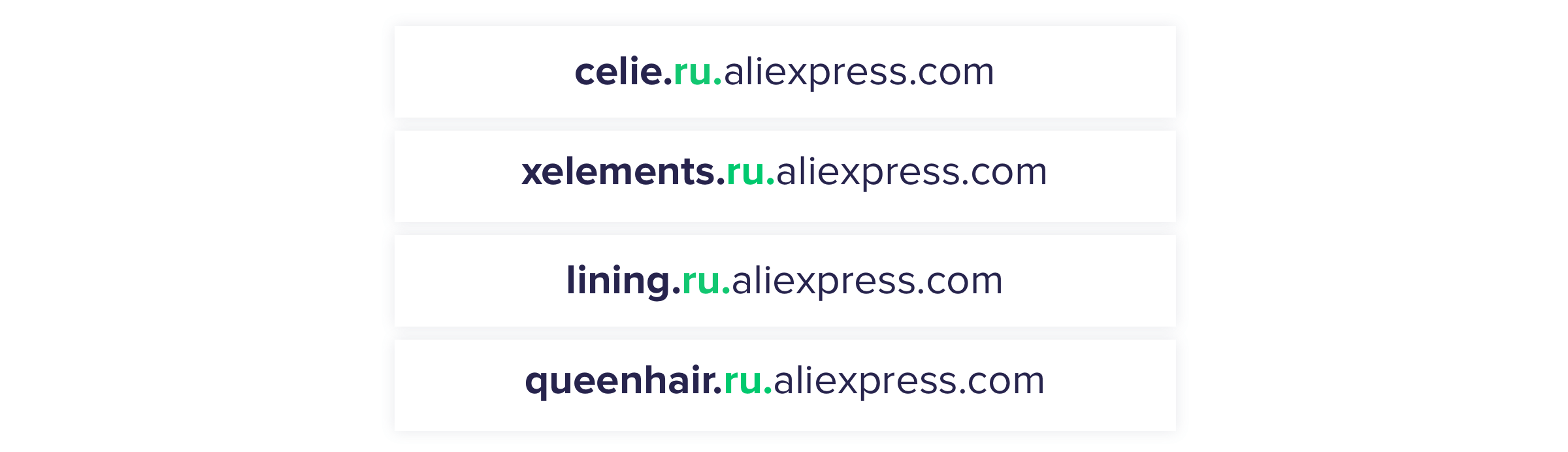 AliExpress regional and category subdomains