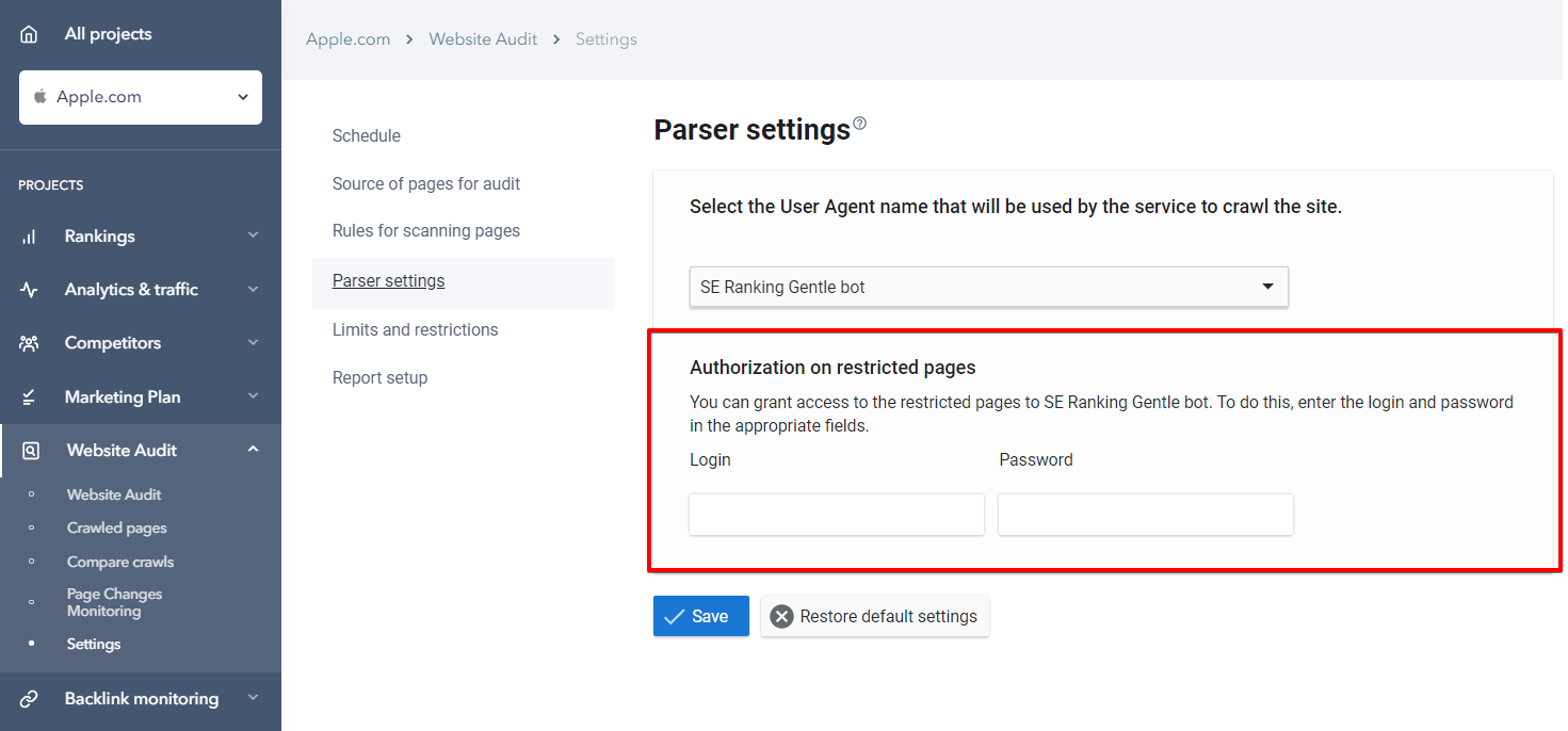 Parser settings autorisation