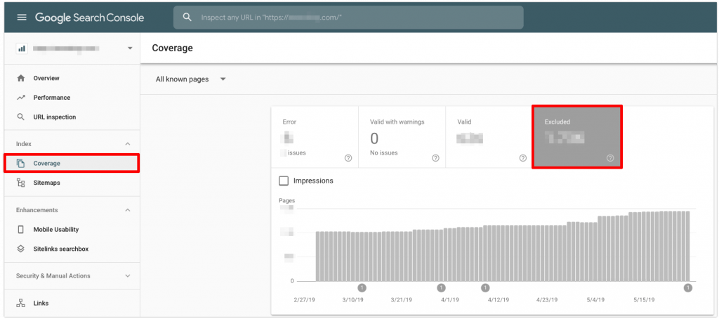 Viewing Excluded pages in Google Search Console