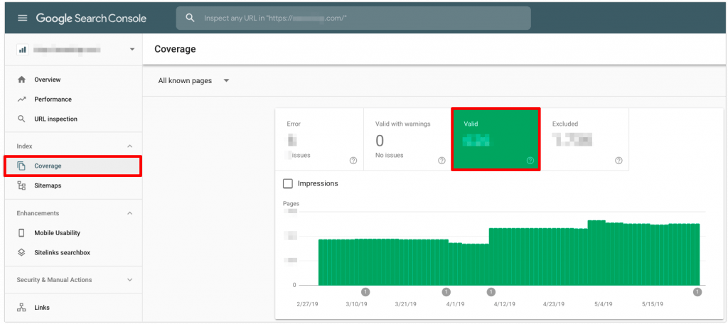 Viewing Valid pages in Google Search Console