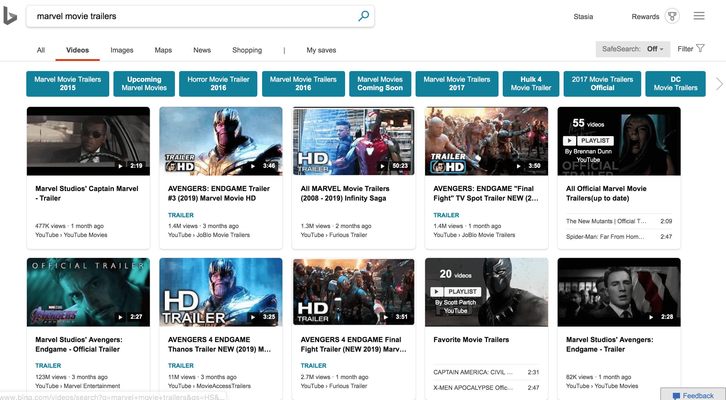how Bing video search looks like