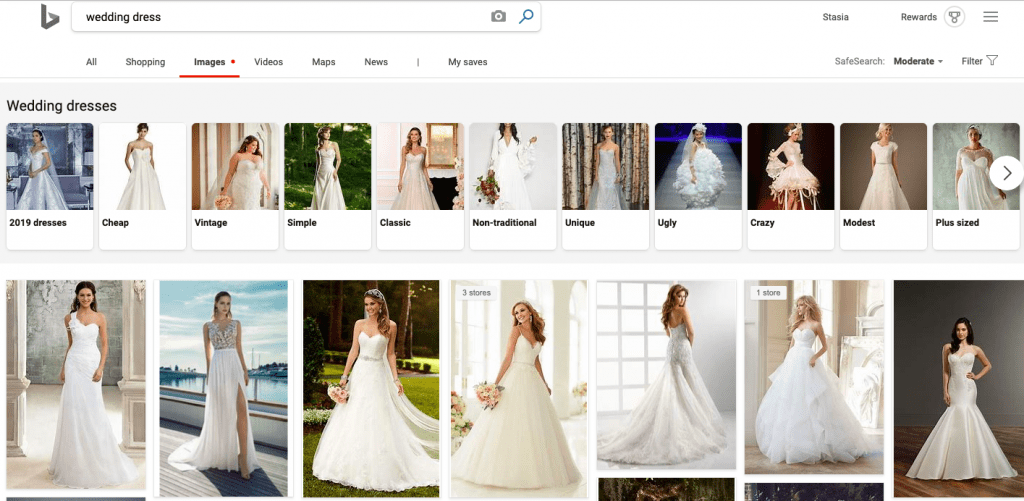 How image search looks in Bing