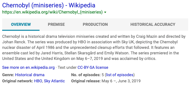 How Bing structured snippet looks like