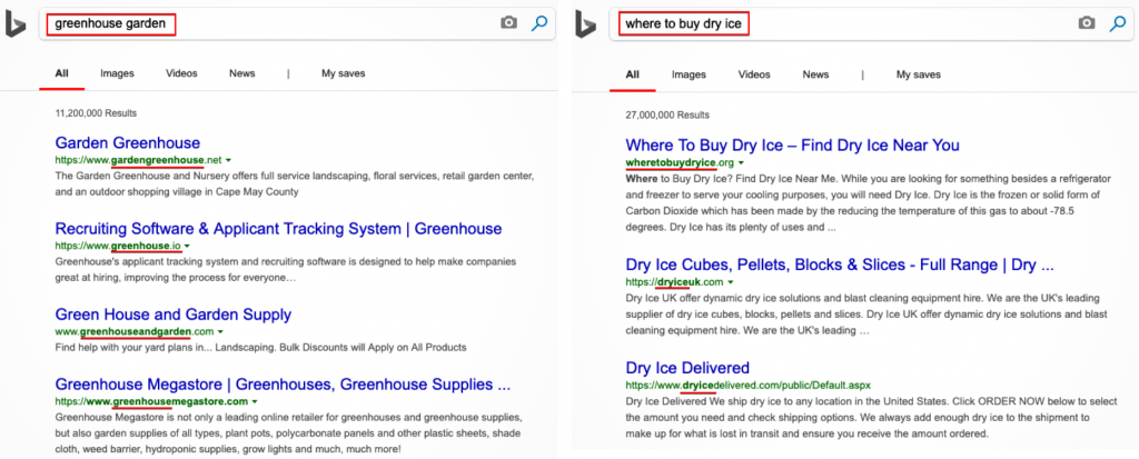 Bing ranks higher domain that match the keyword