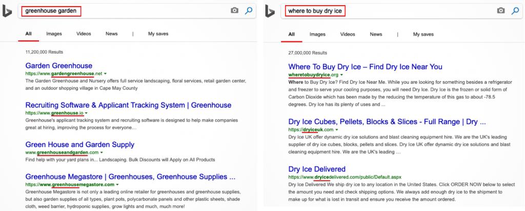Bing ranks higher domain that match the keyword