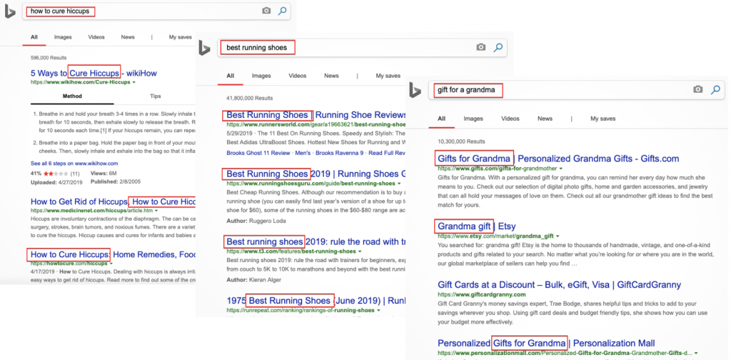 How Bing's SERP looks like