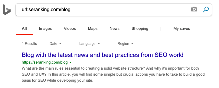 How to check if your URL is indexed in Bing