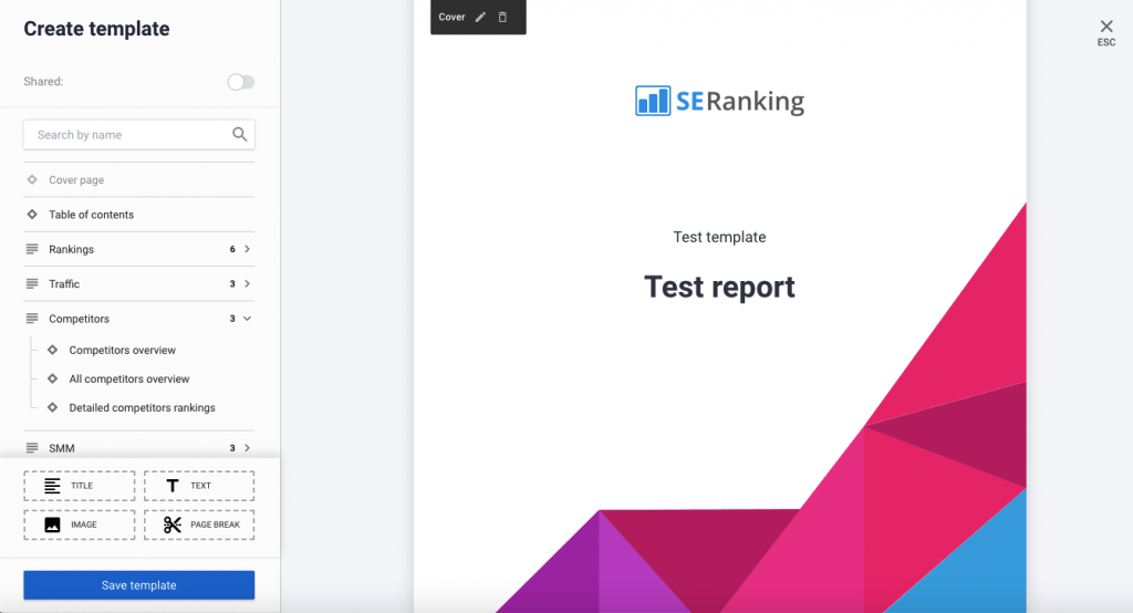 How new SE Ranking Reports Builder looks like