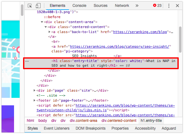 Viewing an element's HTML code in Google Chrome