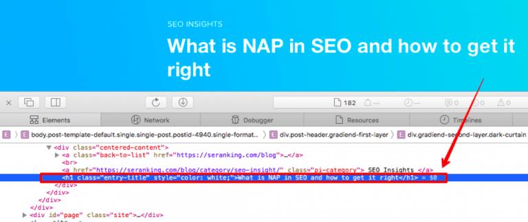 Código fuente HTML y CSS en Safari