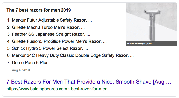 Featured Snippet for the search query 'best razors for men'