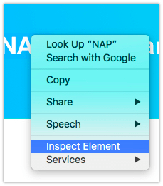 Inspecting an Element in Safari