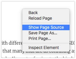 Showing the Page Source in Safari