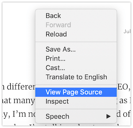 Viewing the Page Source in Google Chrome