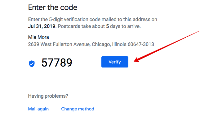 google my business verification code