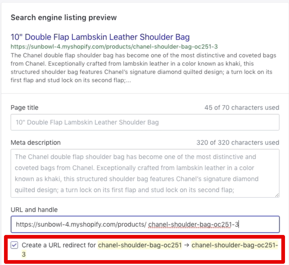 Creating URL redirect upon editing page URL in Shopify