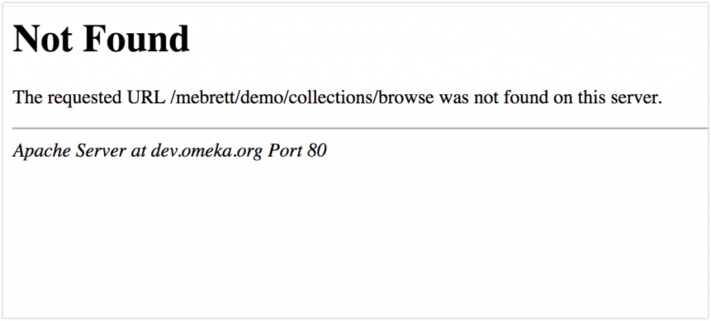 Example of a 404 Not Found message