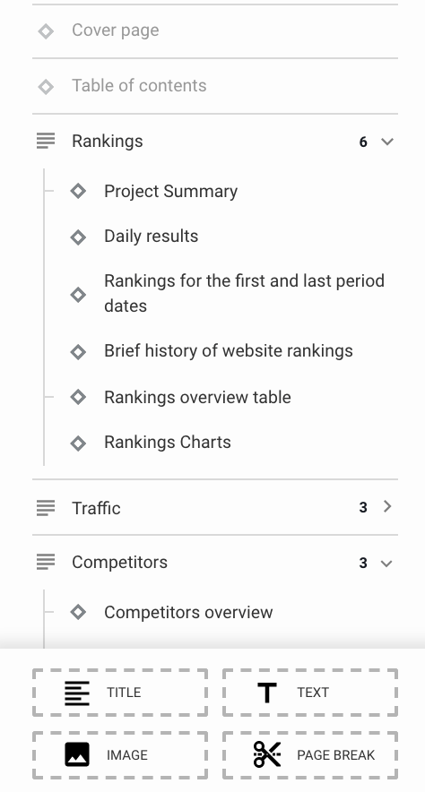 Using the main panel in SE Ranking's Report Builder