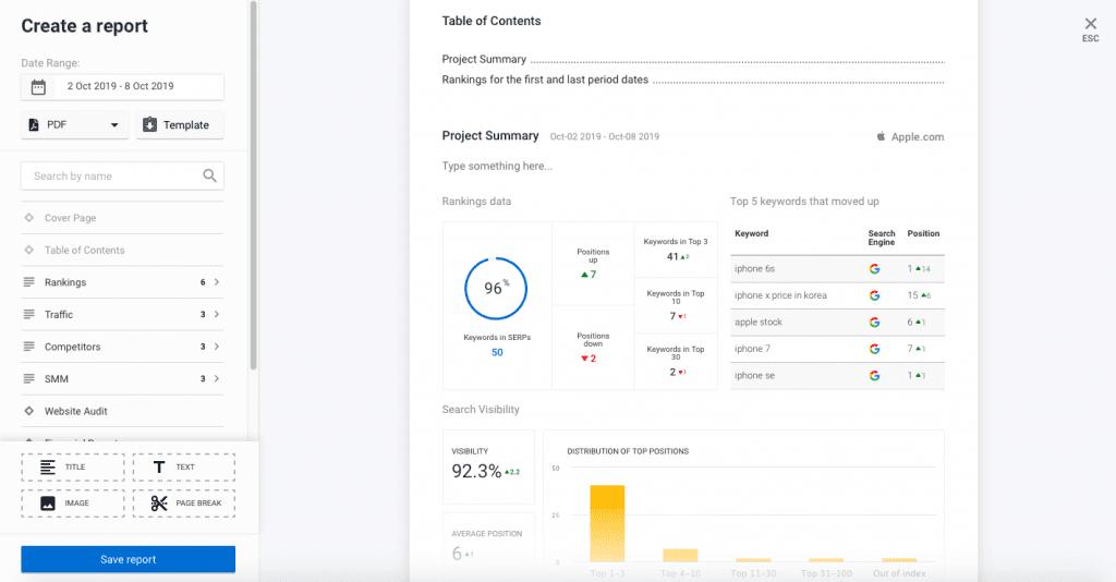 Where to create a progress report in SE Ranking