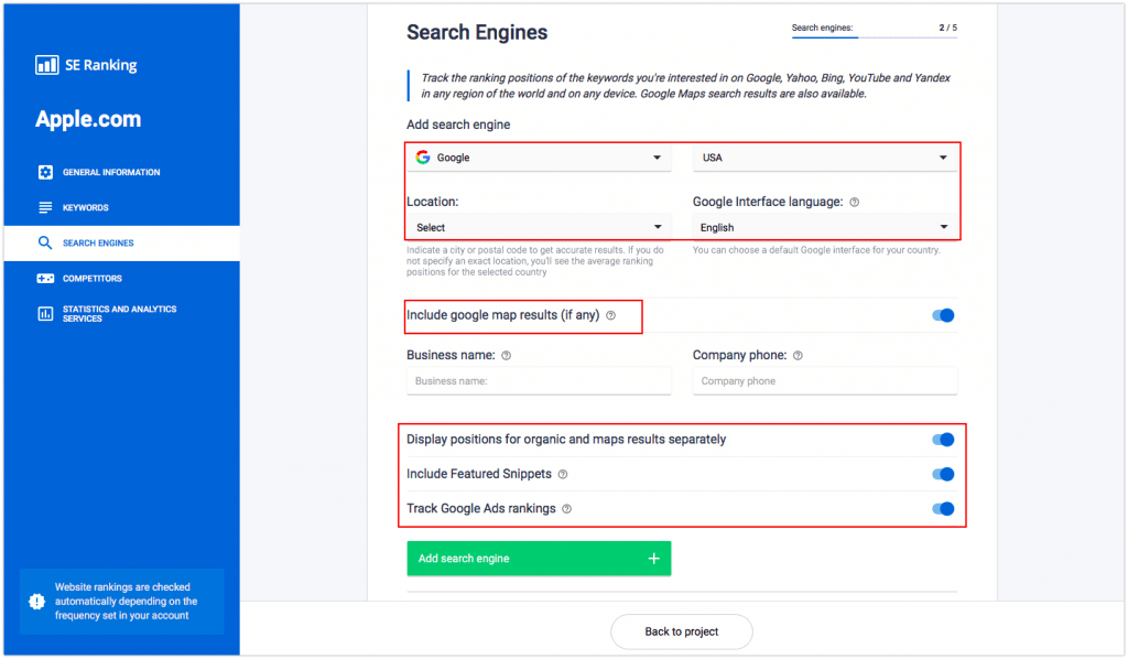 Where to set up keyword rank tracking in SE Ranking