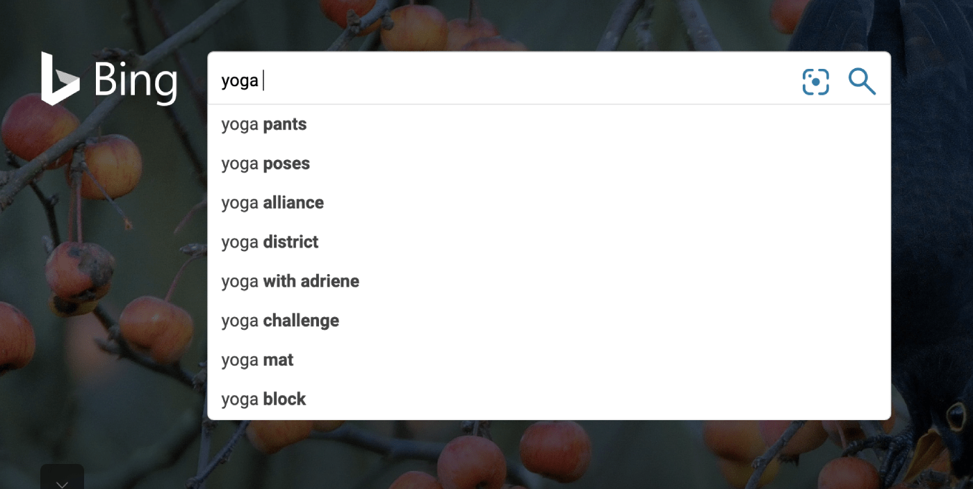 "Bing Suggestions for ""yoga"" keyword"