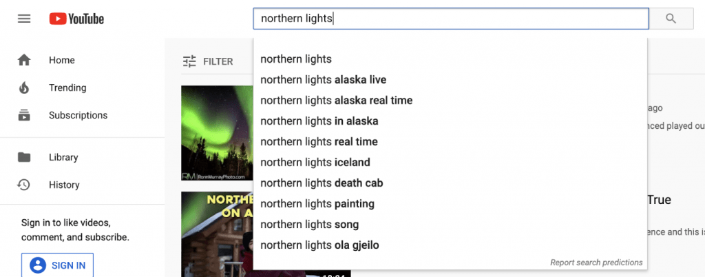 "YouTube predictions for ""northern lights"" keyword"