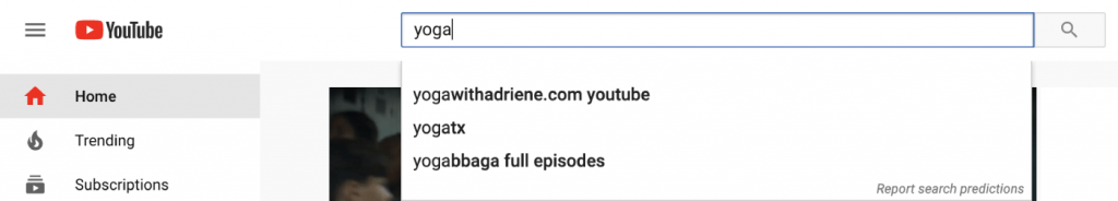 "YouTube prediction for ""yoga"" keyword"