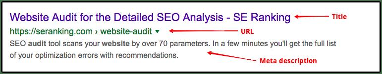 Example of Google meta description