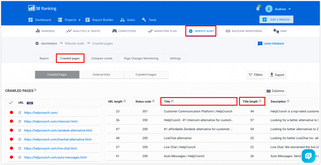 SE Ranking Website Audit title tag filter