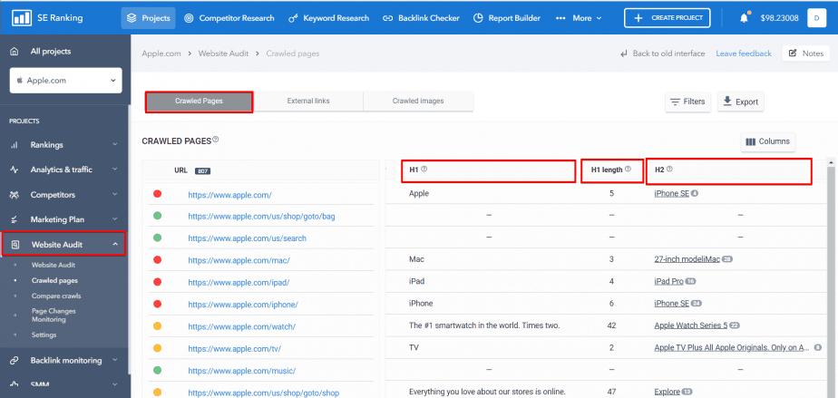 Filter of header tags in SE Ranking Website Audit