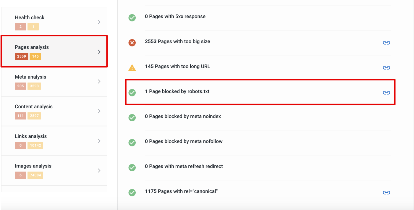 Pages blocked by robot.txt in SE Ranking's Website Audit