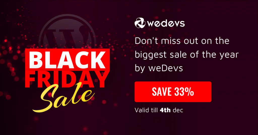 Black Friday 2019 Deal from weDevs