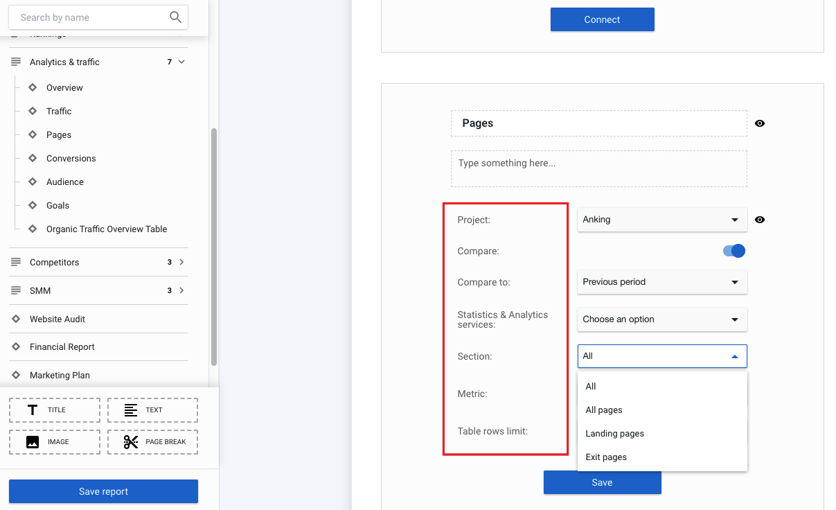 Sections of the Report Builder