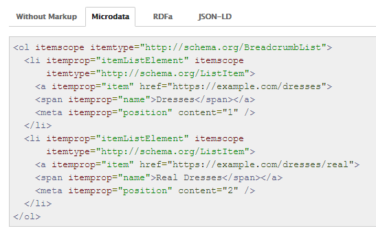 Breadcrumbs with Schema markup added
