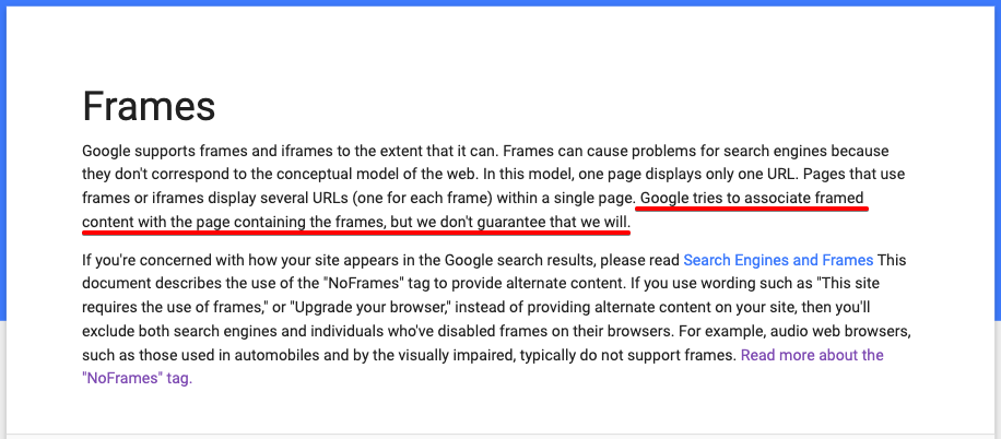 How Google treats frames